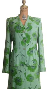 Moschino MOSCHINO Cheap And Chic Green Floral Print Skirt & jacket Suit Set