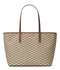 Michael Kors Signature Emry Canvas Tote in NATURAL / LUGGAGE