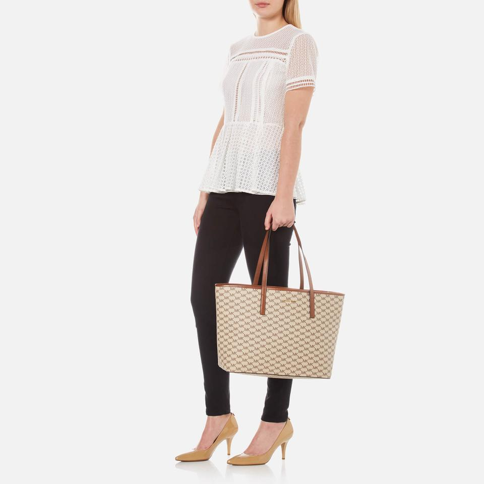 7bc0f641aafb Michael Kors Signature Emry Coated Canvas Tote in NATURAL / LUGGAGE Image  10. 1234567891011