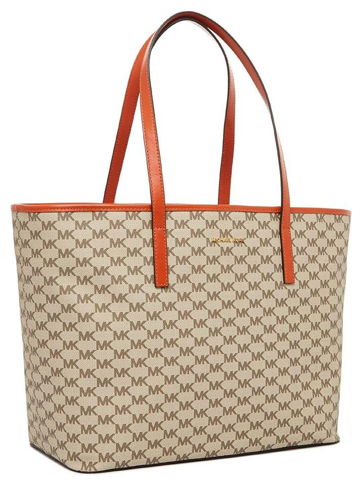 cae55afe4929 Michael Kors Signature Coated Canvas Emry Tote in NATURAL / ORANGE Image 8.  123456789
