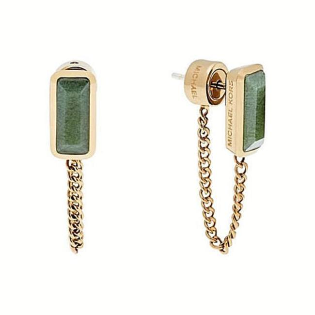 Item - Green/Gold Mkj5818710 Tone Jade Crystal Chain Dangle Earrings