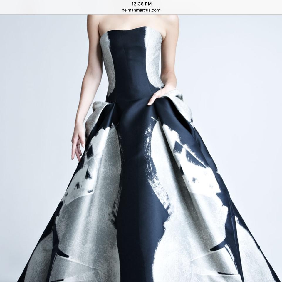 Carolina Herrera Black with Silver Abstract-print Jacquard Gown Long ...
