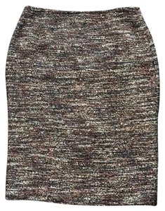 Lafayette 148 New York Skirt Horizontal tweed of black, brown, copper and putty.