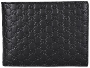 Gucci New Gucci 217044 Men's Black Leather Micro GG Guccissima Wallet