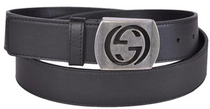 Gucci New Gucci Men's 387031 Black Leather Cut Out Palladium GG Belt 105 42