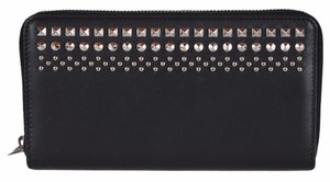 Gucci New Gucci Unisex 387456 Black Studded Leather Zip Around Wallet Clutch