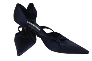 Manolo Blahnik Silk Navy Pumps