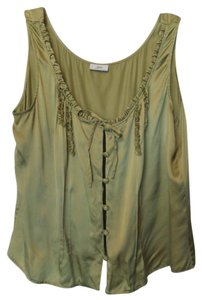 J. Jill Silk Tank Sleeveless Medium Large Top Green