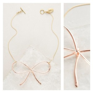 Anthropologie NWT Lena Bernard Rose Gold Bow Neckalce