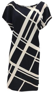 St. John short dress Black, White Striped Classic Checkered Comfortable Knit on Tradesy