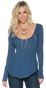Free People Henley Longsleeve Cotton Crochet Top Navy Blue