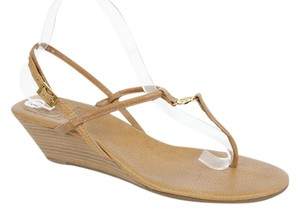 Tory Burch Ankle Strap Sandal Logo Brown Wedges