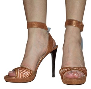 Donald J Pliner Sexy High Heel Ankle Strap Buckle Copper Metallic Platforms