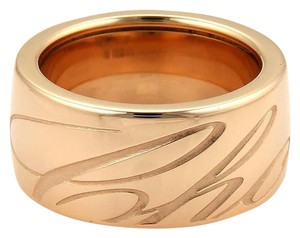 Chopard Chopardissimo 18k Rose Gold Engraved 11mm Wide Band Ring Size 7.75