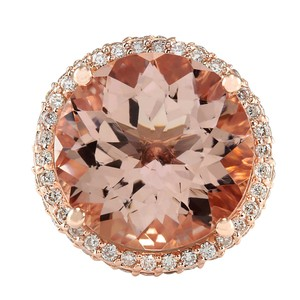 Fashion Strada 13.58CTW Natural Morganite And Diamond Ring 14K Solid Rose Gold