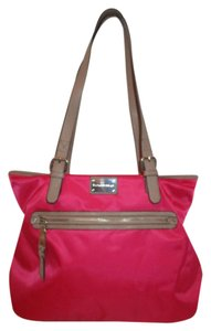 Dana Buchman Faux Leather Nylon Tote in pink with taupe trim