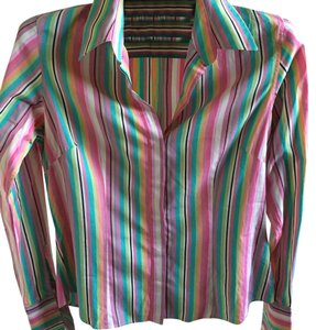 PINK Top multi colored stripes