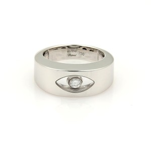 Chopard Happy Diamond 18k White Gold 8mm Wide Band Ring Size 6.5