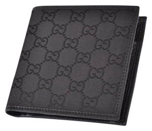 3a419f84b1bd Gucci NEW GUCCI Men's 150413 Black Canvas GG Guccissima Coin Pocket Wallet