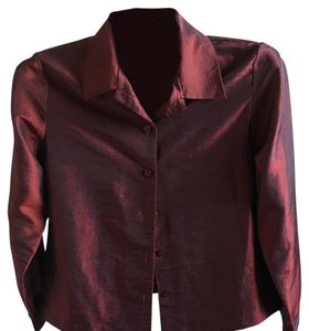 Petite Sophisticate Button Down Shirt shimmering burgundy