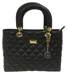 St. John Quilted Leather Top Handle Shoulder Bag