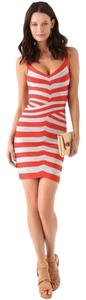Herv Leger Striped Herve Orange Dress
