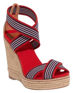 Tory Burch Espadrille Sandal Designer Stripe Red Navy and White Wedges