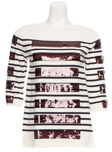 Marc Jacobs Bateau Sequin Striped Tunic Sweater