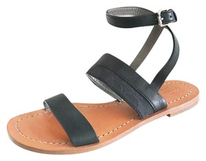 Coach Monogram Classic Preppy Leather Strappy Black Sandals