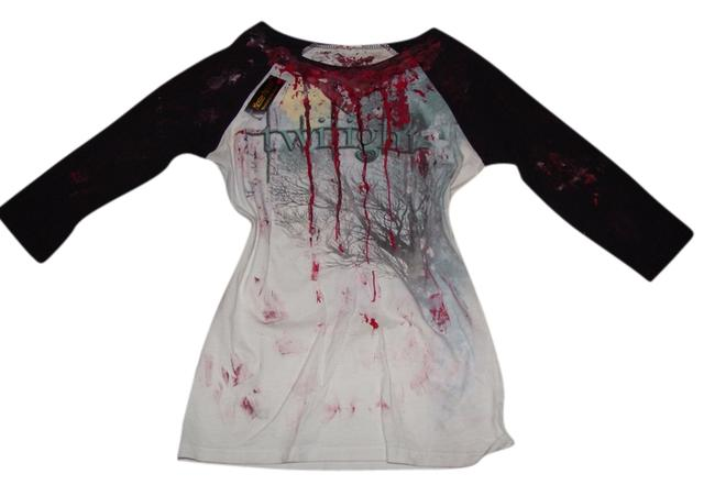 Other Zombie Vampire Gothic Rocker Glam Rock Punk Rock Living Dead Girl Jersey Twilight Saga Halloween Comstume Stage Stage T Shirt Black and White w/faux Red Blood