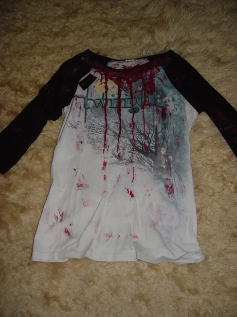 Other Zombie Vampire Gothic Rocker Glam Rock Punk Rock Living Dead Girl T-shirt Jersey Twilight Saga Halloween Comstume Stage T Shirt Black and White w/faux Red Blood
