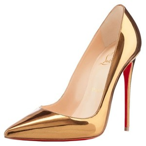 Christian Louboutin Red Sole Stiletto Leather gold Pumps