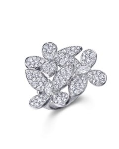 Graff Californiawear GRAFF WHITE GOLD ROUND DIAMOND PAVE SET TRIPLE BUTTERFLY RING US SIZE5