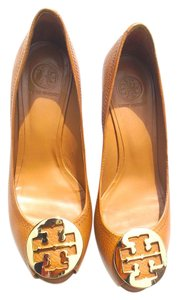 Tory Burch Leather Gold Limited Edition Exquisite BROWN/GOLD Wedges