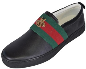 7d8d97f82b1 Gucci Black New Men s Leather Red Green Web Bee Miro Soft Loafers ...