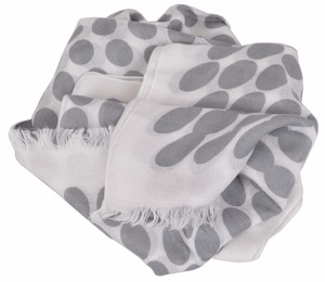 Gucci New Gucci Women's 367220 Grey White Polka Dot GG Guccissima Scarf