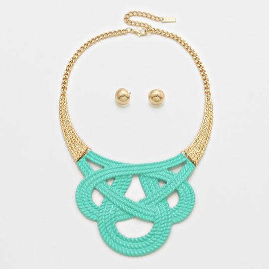 Other Mint Greent Bib Collar Necklace and Gold Tone Stud Earring