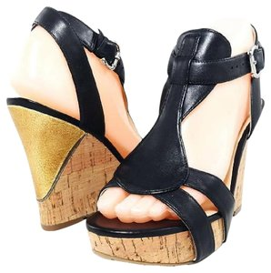 Guess Wedge Leather Platform Contrast Black/Gold Sandals