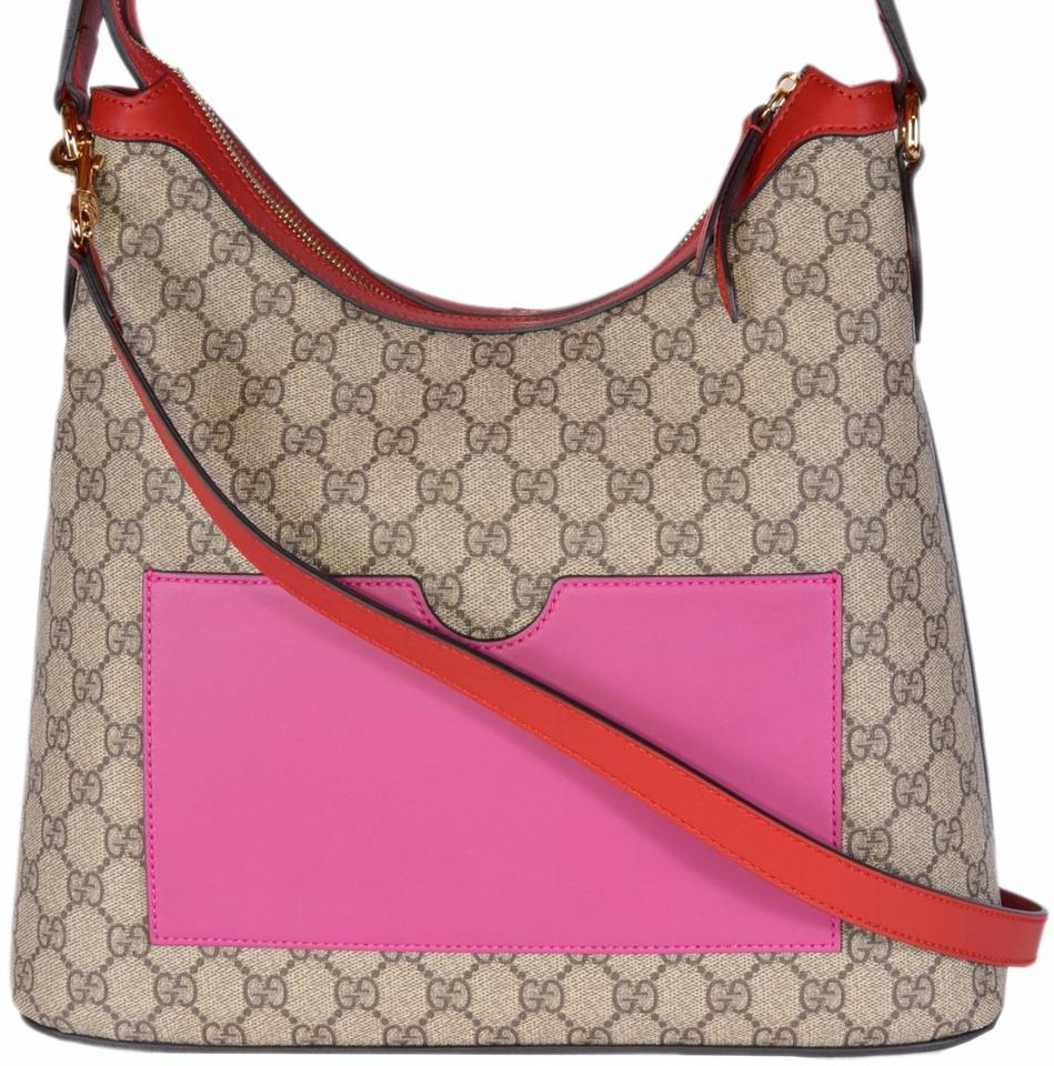 76afe58435ed Gucci New Women s 414930 Guccissima Convertible Purse Ebony Beige Pink Red  Supreme Coated Canvas Hobo Bag
