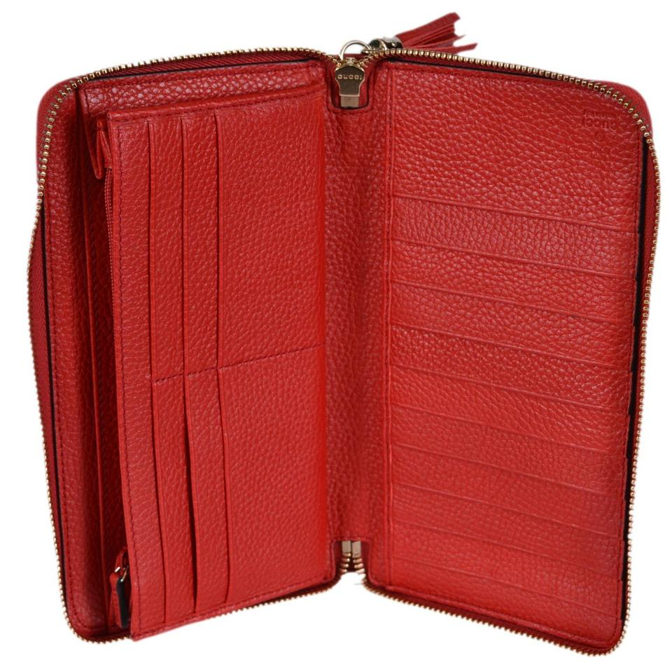 b4d4bb0b0cb3 Gucci New Gucci 291102 Red Leather SOHO Large Zip Around Clutch Wallet  Image 6. 1234567