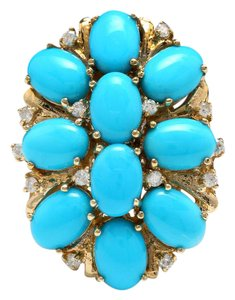 Other 6.80 Carats Natural Turquoise and Diamond 14K Solid Yellow Gold Ring