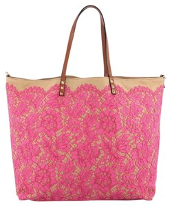 Valentino Glamrock Tote in Valentino Glam Rockstud Reversible Tote Lace and Canvas