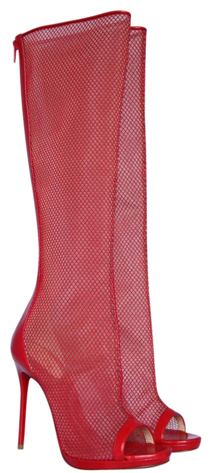 cd4a02658384 Christian Louboutin Red New Alta Dentelle 20ans Leather Lace Knee Platform  Peep Toe Italy Boots Booties. Size  EU 37 ...