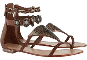 SCHUTZ Bohemian Beaded Leather Silver Hardware Luggage Sandals