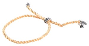 David Yurman Adjustable Yellow Silk Cord Bracelet with Silver-Plated Tips and Bale