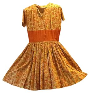 Looks Handmade Vintage short dress oranges and greens on Tradesy