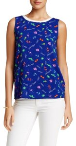 Macbeth Collection Beach Print Anchor Pineapple Top Blue