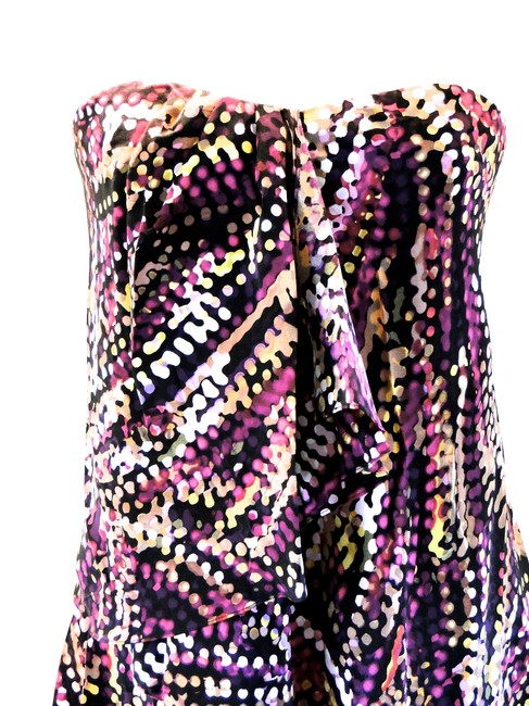 BCBG Max Azria Silk Chiffon Strapless Layer Ruffle Small 4 Azelia Asymmetrical Print Cocktail Dress