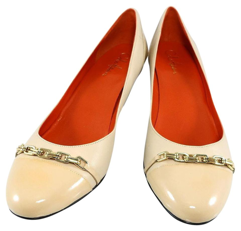 7427214aba Cole Haan Ivory Air Leather Lainey Gold Chain Mid Wedge Cap Toe Slip On  Pumps
