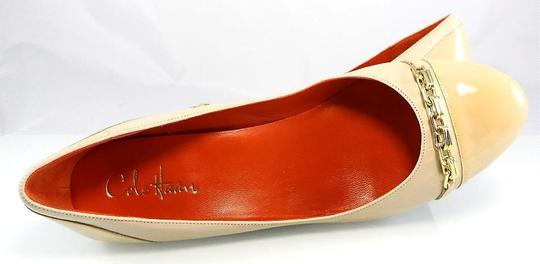 59ff669b60 Cole Haan Ivory Air Leather Lainey Gold Chain Mid Wedge Cap Toe Slip ...